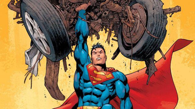片手で自動車を持ち上げるスーパーマン